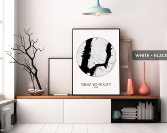 NEW YORK CITY map print, poster, map of New York, New York printable, street map art, New York map poster, city map wall art, travel poster