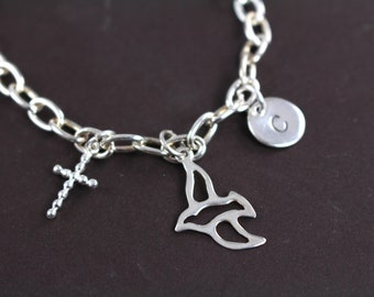 Confirmation Gift , First Communion Gift , Personalized Charm Bracelet with Cross Dove , 925 Sterling Silver
