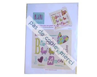 "Cross stitch pattern, Lilipoints, ""bébé d'amour"", cross stitch designs,"