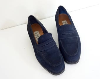 Vintage NINE WEST Shoes •1990s Women Footwear • Block Heel Penny Loafers Navy Blue Suede Leather Size 7 Women 90s Nineties Made in Brazil