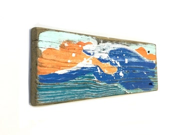 Surf Waves Beach Art-Personalize and Adopt This Original Art Item- Waves on Reclaimed Wood Home Decor Beach Sign Mangoseed