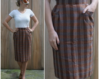 Vintage 80s Brown Plaid High Waisted Pencil Skirt with Front Pockets | Small Medium