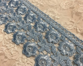 Wedding Venice Embroidered Lace Blue, Sewing, Embellishments, Junk Journals, Scrapbooks, Shabby Chic, Collage