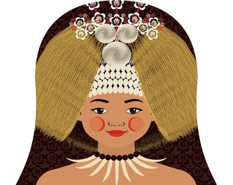 Samoan Wall Art Print featuring culturally traditional dress drawn in a Russian matryoshka nesting doll shape