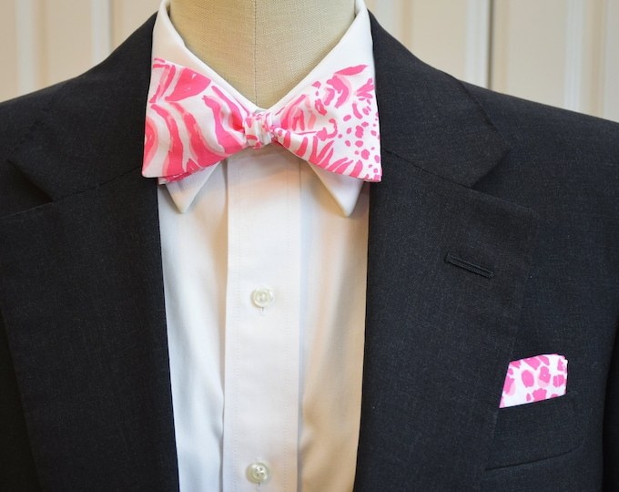 Men's Pocket Square & Bow Tie, pink white Lilly Get Spotted jungle cat print, wedding party wear, groomsmen gift, groom bowtie set, prom set