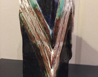 Unique studio pottery pentagon vase zig zag pattern