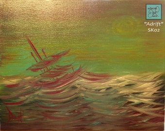 """Battered Ship Abstract Painting on Canvas, green and purple, 11 x 14, """"Adrift"""", SK02, FREE SHIPPING"""