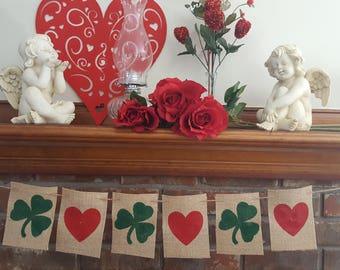 Shamrock Banner, Irish Heart Banner, Clover Heart Banner, St. Patrick's Day Banner, Clover Burlap Banner, St. Paddy's Day Banner