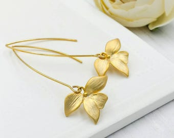 Gold Orchid Earrings, Matte Gold Orchid Flower Long Dangle Earrings, Flower Earrings, Gold Wedding Bridal Bridesmaid Mom Gift for Her