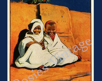 MOROCCO  ~  Vintage travel poster - Beach house decor ~ Kitchen wall art - Guest house ~ Childs Room decor