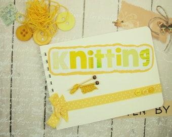 Handmade Knitting Notebook, A5 Makers Book, Journal, Mixed Media, Notebook, Knitting Journal, Knitting Themed Notes Book, Knitters Journal