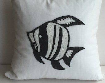 Coastal Nautical Angel Fish Decorative Pillow Cover, White & Black, Hand Made, 20x20,  insert included