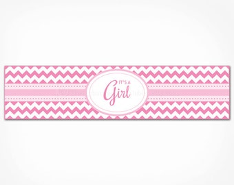Pink Chevron Baby Shower Water Bottle Labels - Printable INSTANT DOWNLOAD - It's a Girl Water Bottle Wraps Decorations