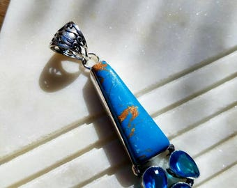 Turquoise and Blue Topaz Pendant