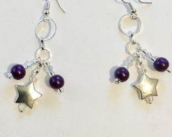 Dangly purple bead star earrings