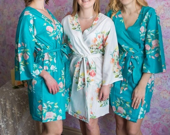 Premium Turquoise Bridesmaids Robes - Dreamy Angel Song Pattern - Soft Rayon Fabric - Better Design - Perfect as getting ready robes