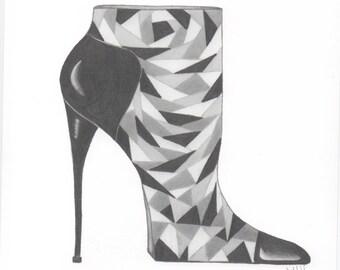 Fashion Illustration Wall Art Shoe: Geometric Shapes