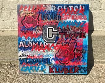Cleveland Indians Graffiti No. 09 Painting 17 x 17 by Garrett Weider