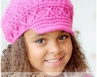 Hot Pink Newsboy Hat 2T-4T, Childrens Hat, Pink Newsboy Hat, Hat for Girls, Girls Winter Hat, Hat for Toddlers, Girl Crochet Hat, Winter Hat