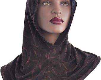 Jersey Knit Women Head Hoodie Ladies Hood Jersey Knit Hoodie Brown Black
