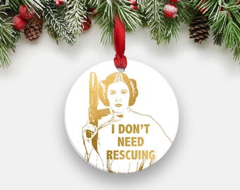 Princess Leia Holiday Ornament, Round Aluminum Christmas Ornament, Faux Gold Foil Inspirational Star Wars Girls Boss Gifts Stocking Stuffers