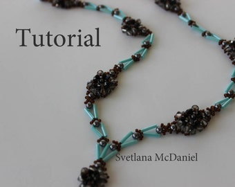 PDF tutorial beaded necklace black diamond_ seed beads_ bugle_ crystals_ beadweaving