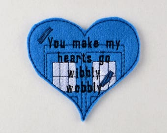 You make my hearts go wibbly wobbly Doctor Who pencil heart ITH 4x4 machine embroidery design