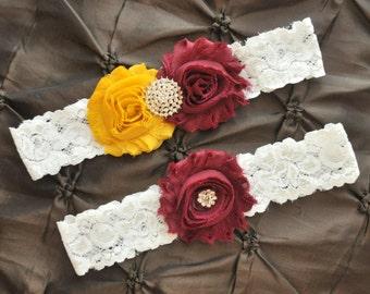 Wedding Garter, Bridal Garter Set - White Lace Garter, Keepsake Garter, Toss Garter, Maroon Garter, Gold Garter, Florida State Garter