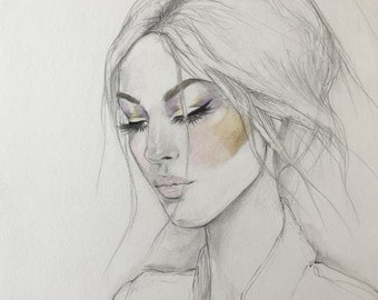 Retro Beauty Original Watercolor Painting