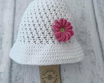Girls Cotton Sun Hat, Crochet Sun Hat, Flower Hat, Summer Hat, Girls Hat,  White Hat, Cotton Hat,