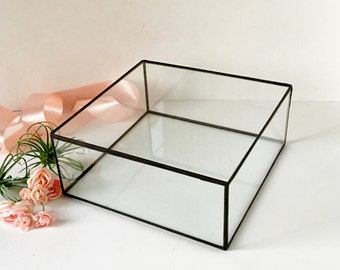 "Large Glass Display Box, Glass  Box, Clear Glass Jewelry Box 10.4""x 10.4""x 2"""