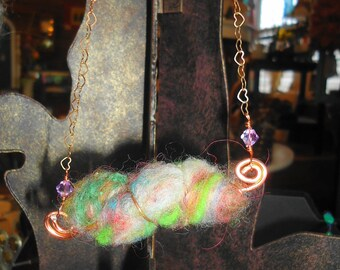 Cotton Candy Felted Fiber Necklace