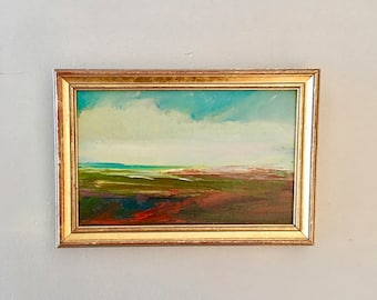 Autumn Landscape - Small Painting- Minimalist Landscape- Original- 5 x 8  approx. inch - including Frame -  Collectible - Fine Art