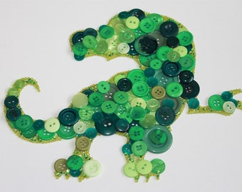 Dino wall art, button canvas, green dinosaur button wall art, nursery wall art, boys room decor, handmade gift, button picture