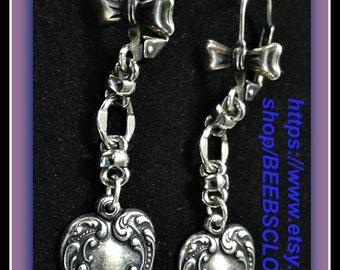 Silver heart earrings, Silver plated jewelry ,heart  earrings