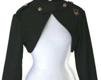 Steampunk Shrug Army Green Olive Bolero Short Jacket With Military Patch Retro Pinup Pin Up Custom Size including Plus Sizes Handmade