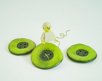 Lime green Round Ceramic  Buttons, Large buttons, Handmade Stoneware Buttons, Sewing Supplies