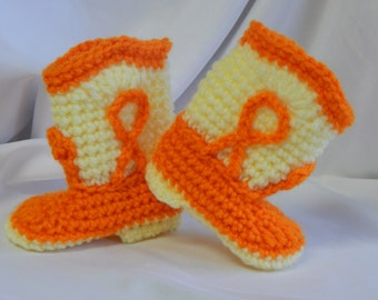 Baby Cowboy Cowgirl Booties in Orange and Yellow - 3 to 6 Months - Crochet for Baby Girl