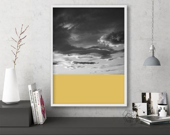 """black and white, abstract photography, large colorful wall art, instant download printable art, abstract wall art, yellow - """"Skyscape No. 1"""""""