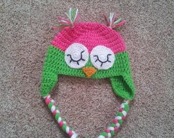 sleeping owl crochet hat