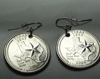 Earrings with State Quarter of your Choice, coins, state quarters, earrings, state pride, jewelry with coins, unique gifts, gifts for women