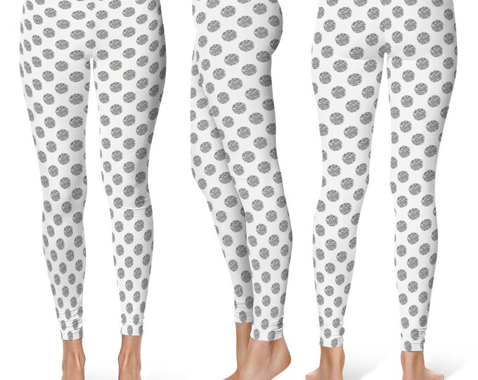 Polka Dot Leggings Yoga Pants, Printed Yoga Tights for Women, Glittery Silver and White Pattern