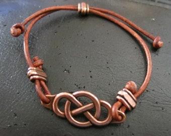 Brown Leather Celtic Design Bracelet
