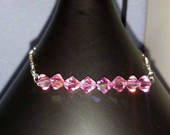 Sterling silver bracelet with swarovski crystals pink