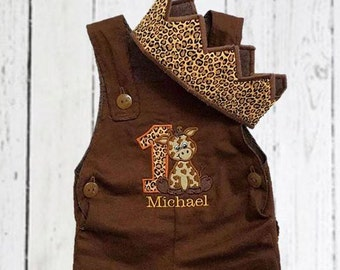Safari First Birthday Overalls Outfit Romper, Zoo First Birthday Outfit and Crown, Baby Animals Birthday Set, Baby Safari Animal Outfit