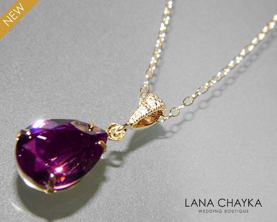 Amethyst Tear Drop Pendant - Swarovski Crystal - Purple Necklace - Wedding Jewellery ypFWWjn