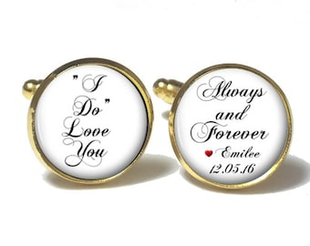 Groom Cufflinks, Personalized Cufflinks, Wedding Cuff links, I Do Cuff Links, Style 694