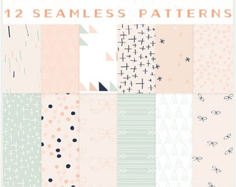 Bows, Arrows & Pretty Little Things - VECTOR files - Seamless Patterns - Digital Scrapbook - Blog Backgrounds - Paper Pack