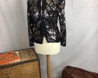 Bold stand out vintage Frank Usher sequin jacket statement black