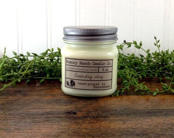 Hand poured natural soy candle - 8 oz - laundry day